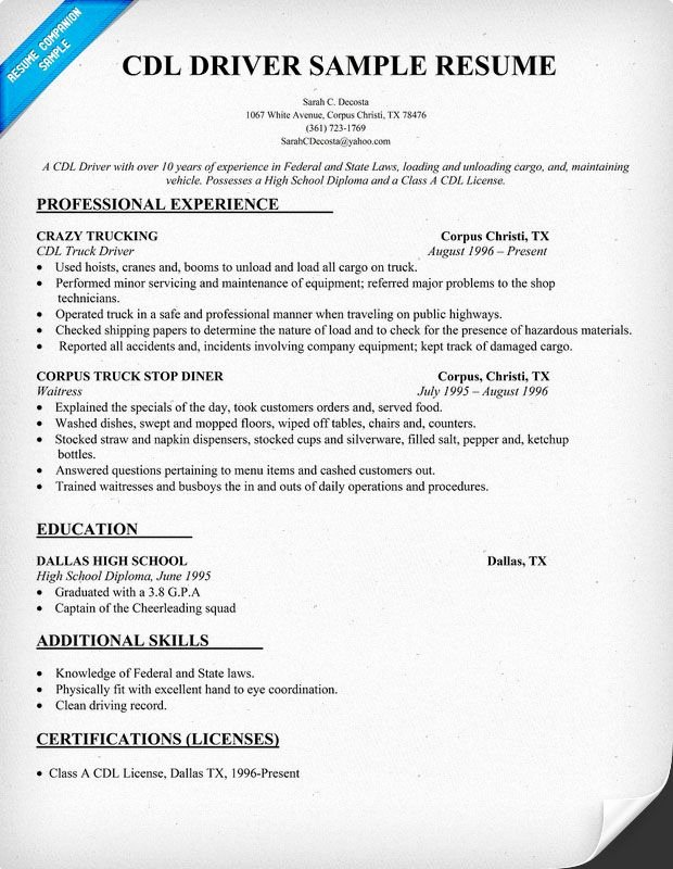 Truck Driver Resume Sample Fresh Cdl Driver Resume Sample Resume Panion