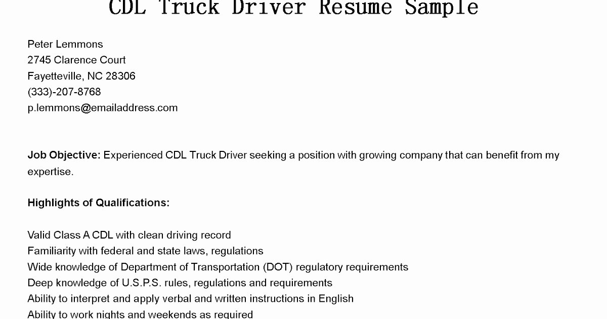 Truck Driver Resume Sample Lovely Driver Resumes Cdl Truck Driver Resume Sample