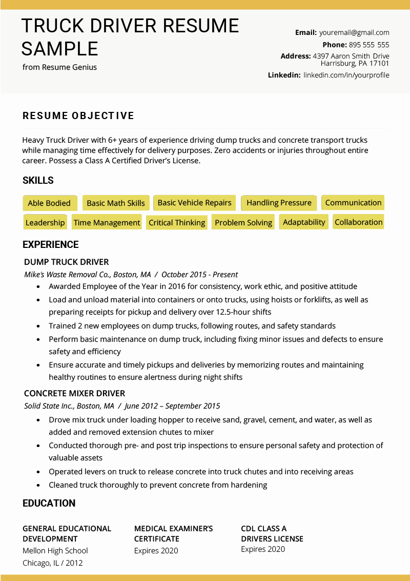 Truck Driver Resume Sample Unique Truck Driver Resume Sample and Tips