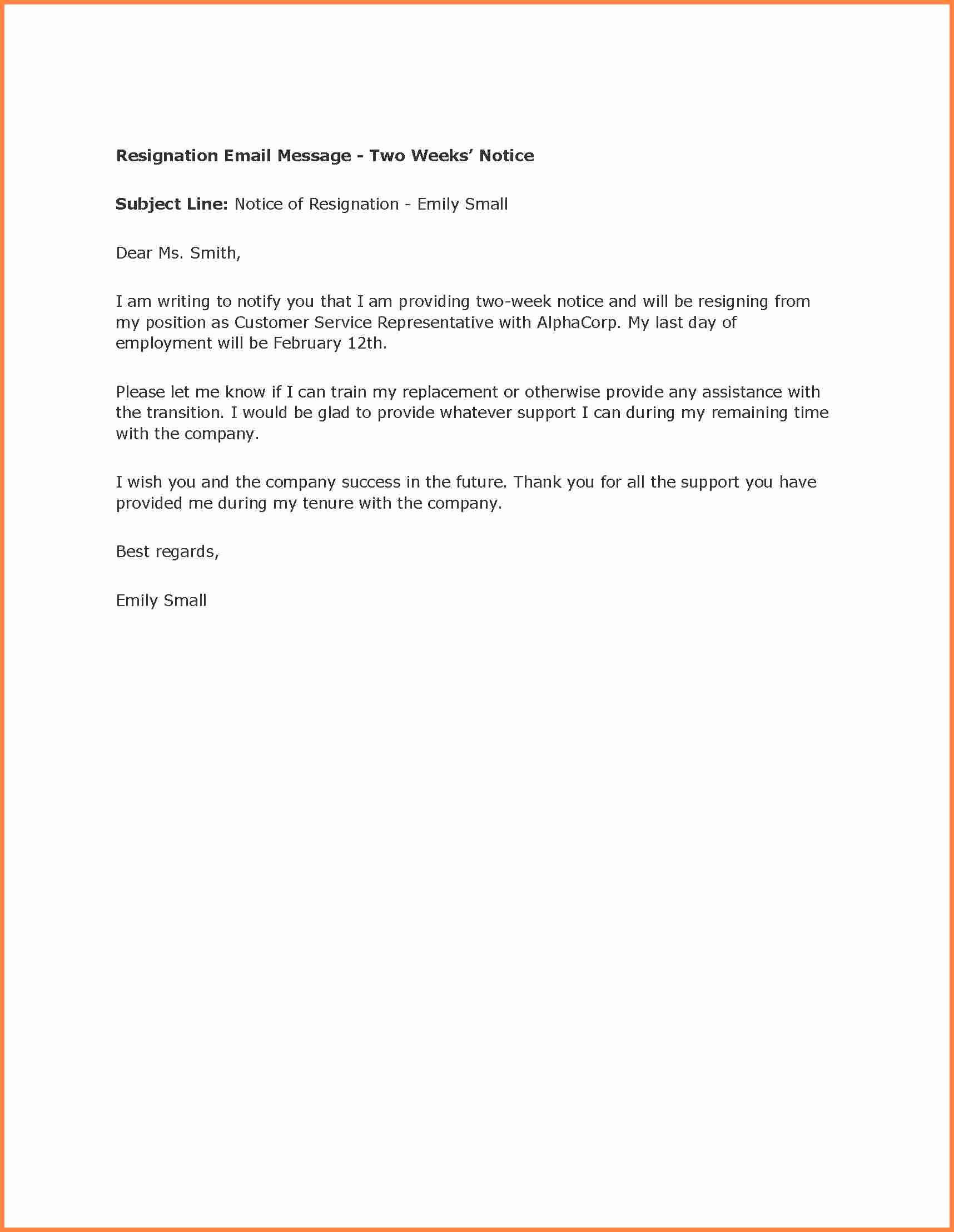Two Week Resignation Letter Awesome 3 Simple Resignation Letter 2 Weeks Notice