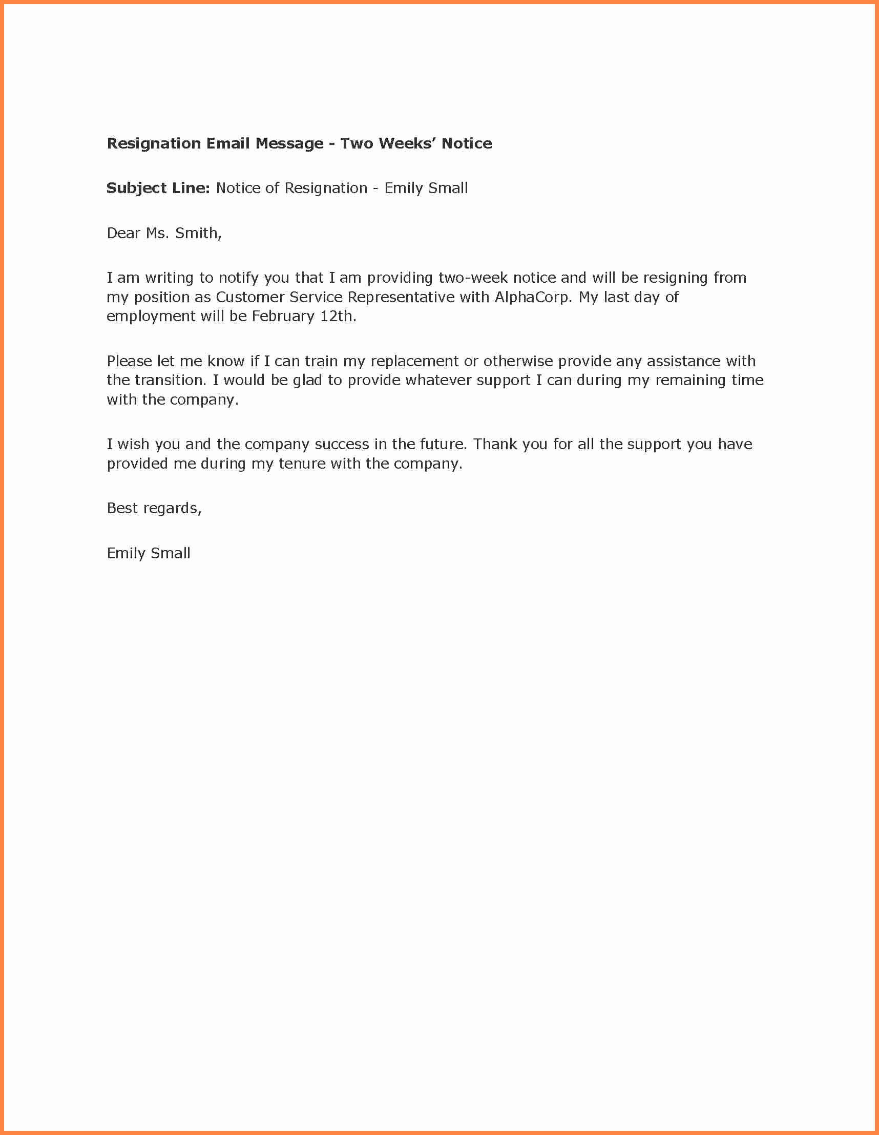 Two Week Resignation Letter Awesome 8 Example Letter Of Resignation 2 Week Notice