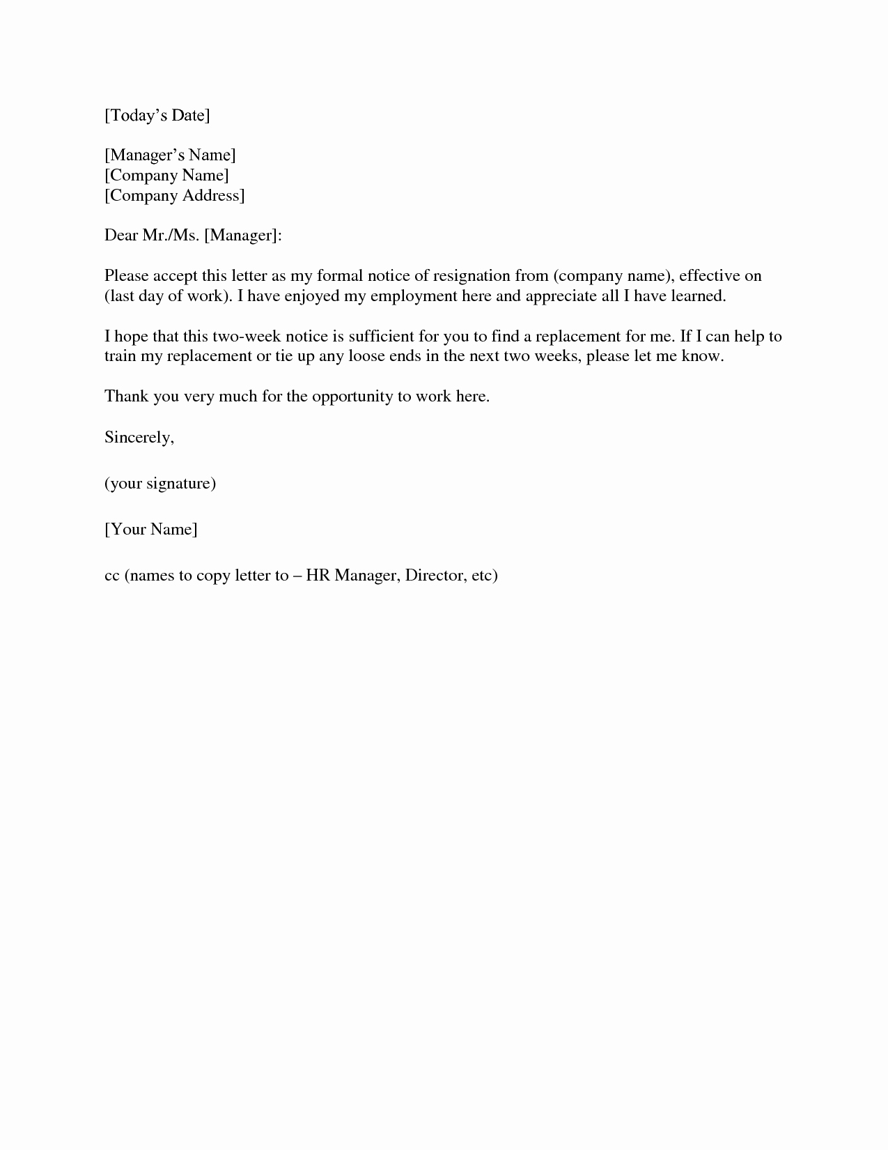 Two Week Resignation Letter Beautiful Two Weeks Notice Letter Template
