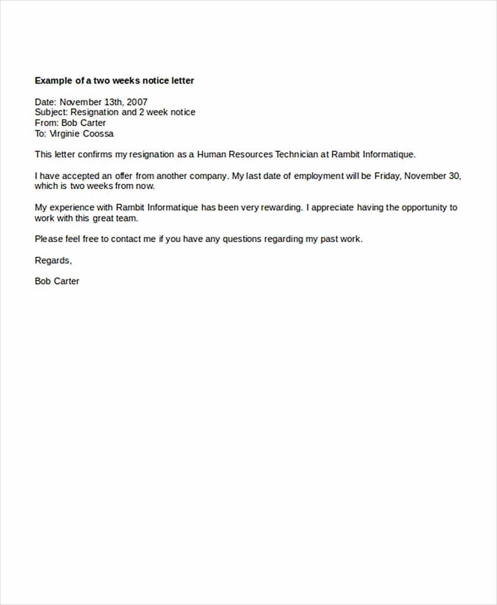 Two Week Resignation Letter Elegant Two Weeks Notice Letters – Download Pdf Doc format
