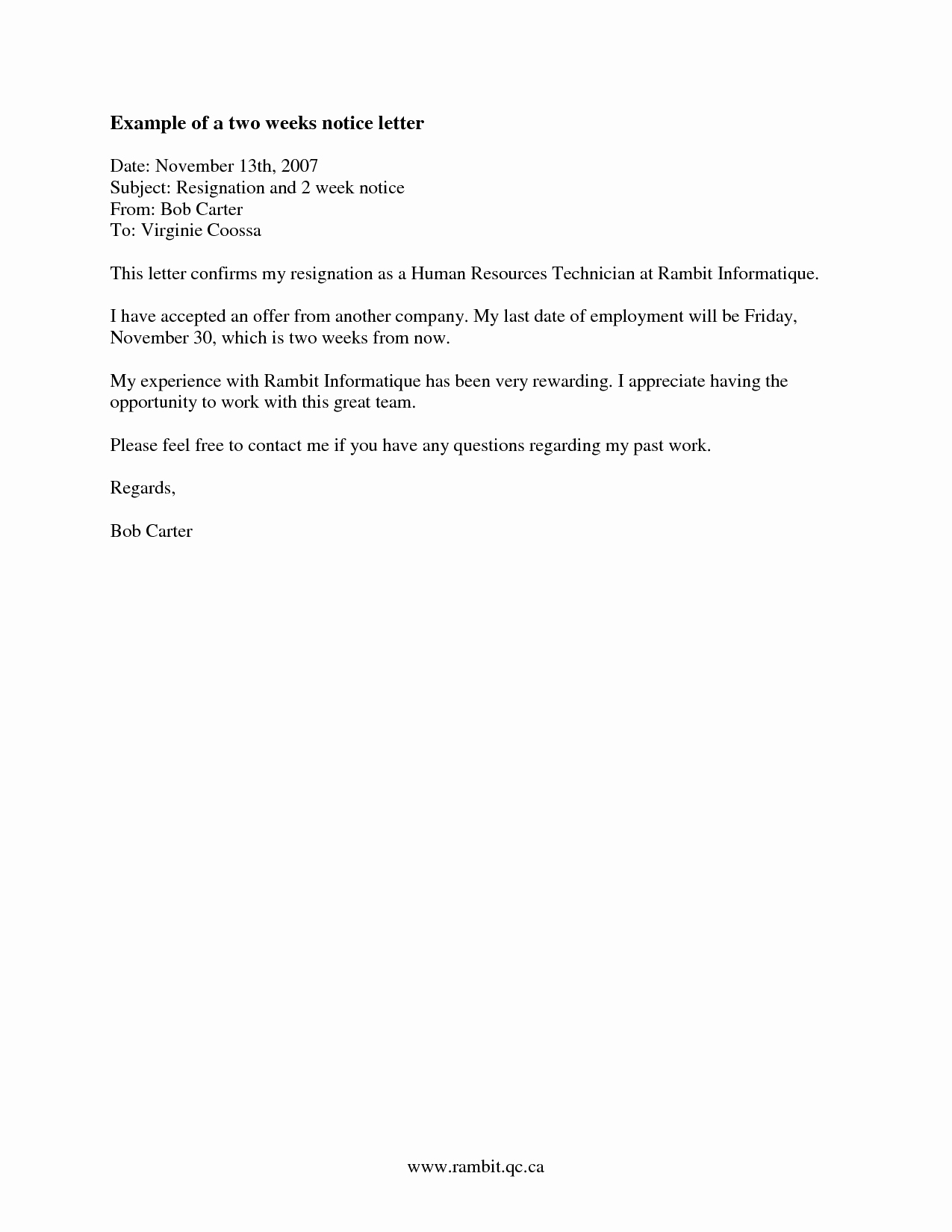 Two Week Resignation Letter Fresh Two Weeks Notice Letter Template