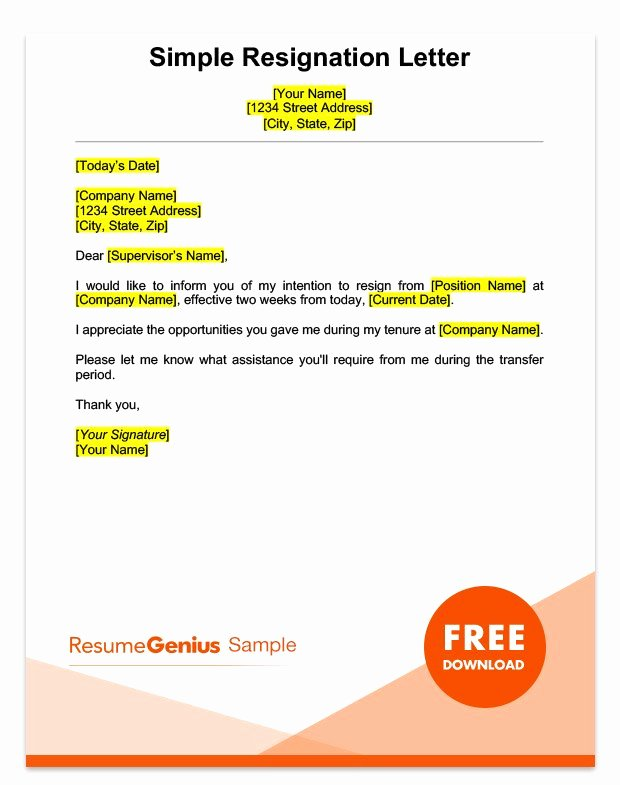 Two Week Resignation Letter Inspirational Two Weeks Notice Letter Sample Free Download