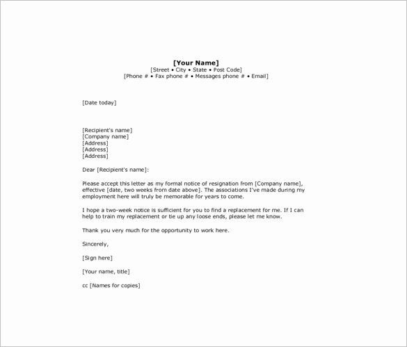 Two Week Resignation Letter Luxury 10 Sample Two Week Notice Resignation Letter Templates