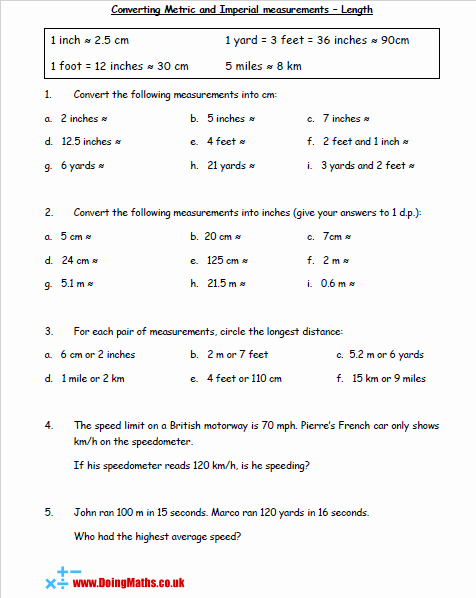Unit Conversion Worksheet Pdf Best Of Metric and Imperial Conversions Doingmaths Free Maths
