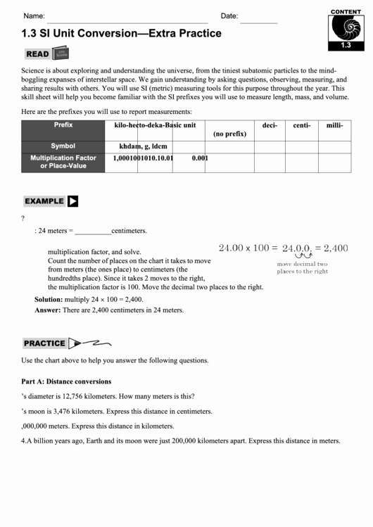 Unit Conversion Worksheet Pdf Inspirational Unit Conversion Extra Practice Worksheet Printable Pdf