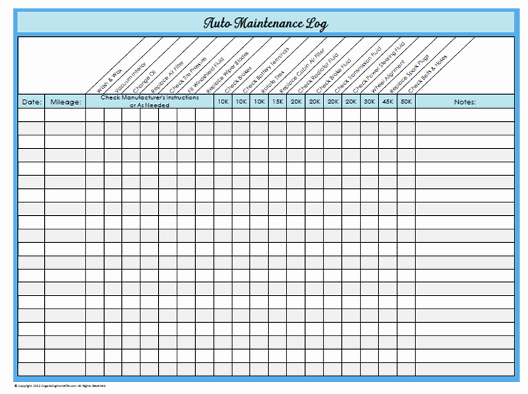 Vehicle Maintenance Log Pdf Awesome 31 Days Of Home Management Binder Printables Day 23 Auto