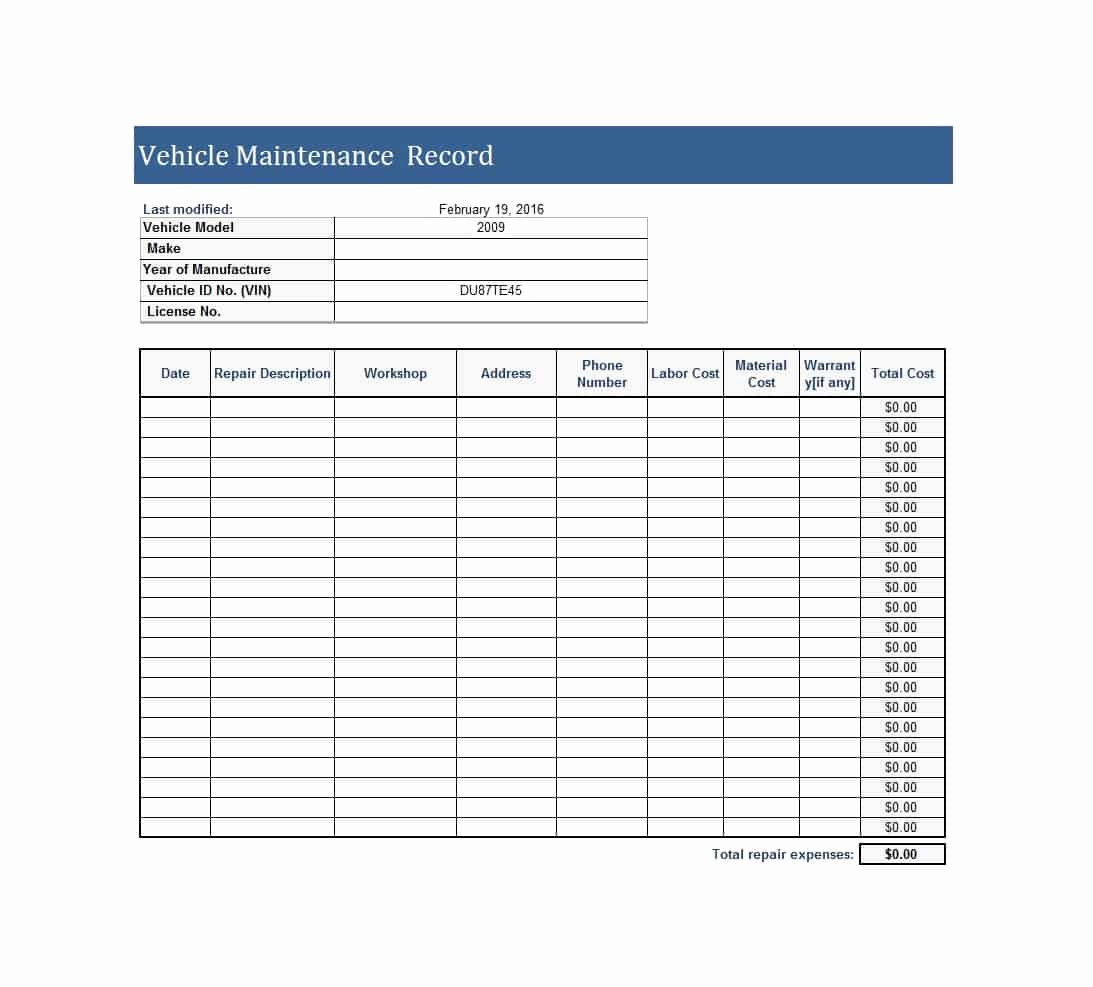 Vehicle Maintenance Log Pdf Beautiful 40 Printable Vehicle Maintenance Log Templates Template Lab