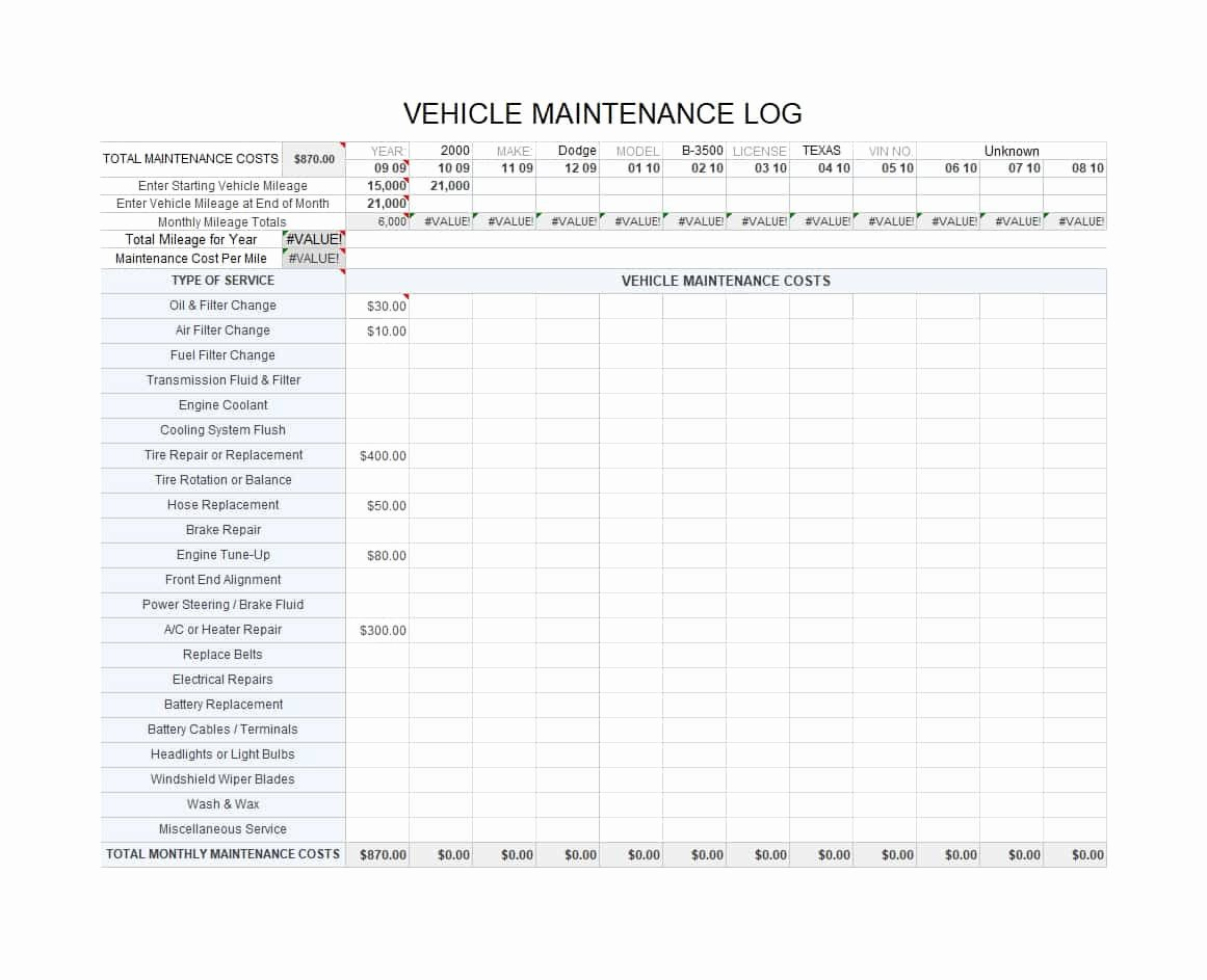Vehicle Maintenance Log Pdf Beautiful Fleet Vehicle Maintenance Spreadsheet with 40 Printable