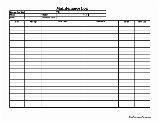 Vehicle Maintenance Log Pdf Elegant Free Easy Copy Detailed Automotive Maintenance Log Wide