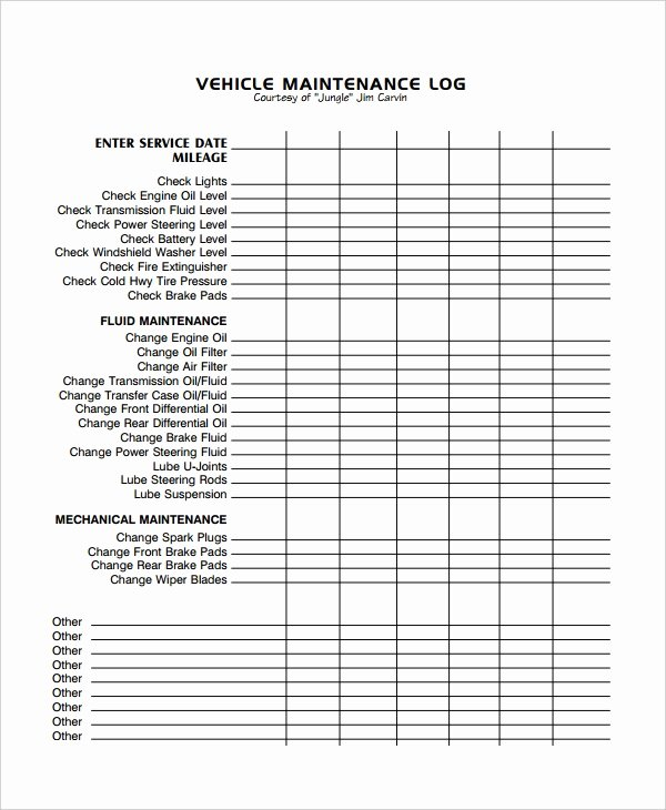Vehicle Maintenance Log Pdf Inspirational Maintenance Log Template 12 Free Word Excel Pdf