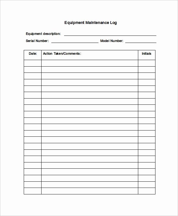 Vehicle Maintenance Log Pdf New Maintenance Log Template 12 Free Word Excel Pdf