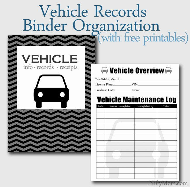 Vehicle Maintenance Log Pdf New Vehicle Documents Binder organization Free Printables