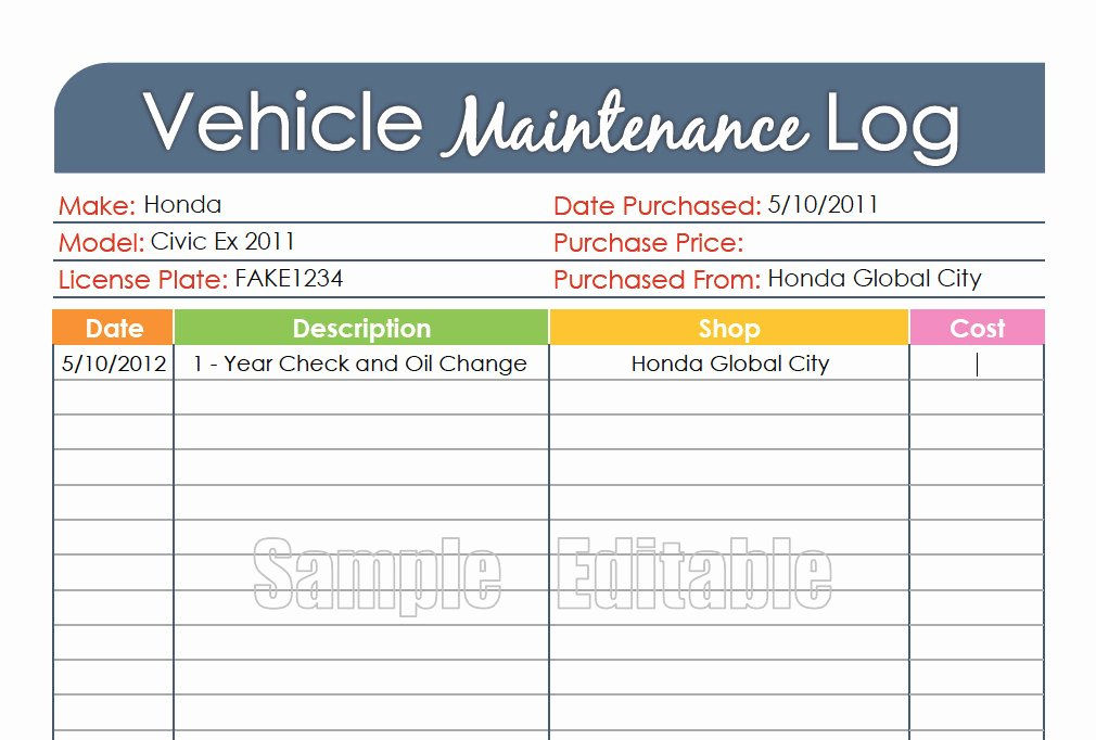 Vehicle Maintenance Log Pdf New Vehicle Maintenance Log Car Maintenance Log by