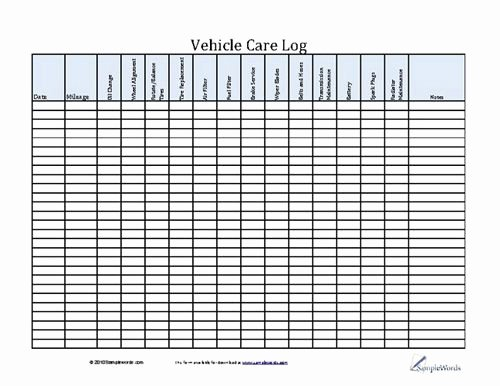 Vehicle Maintenance Log Pdf Unique Vehicle Care Log Printable Pdf form for Car Maintenance