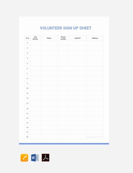 Volunteer Sign In Sheet Awesome 14 Sign Up Sheet Examples Templates In Word Pages Docs