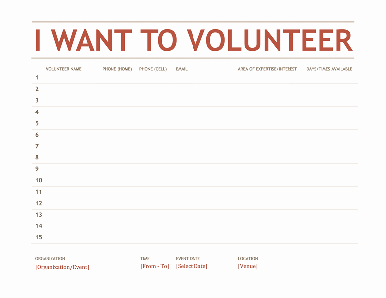 Volunteer Sign In Sheet Best Of Volunteer Sign Up Sheet Templates