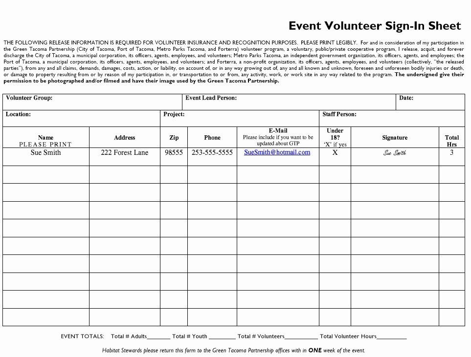 Volunteer Sign In Sheet Elegant 10 Free Sample Volunteer Sign In Sheet Templates