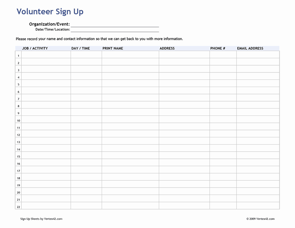 Volunteer Sign In Sheet Fresh Free Printable Volunteer Sign Up Sheet Pdf From Vertex42