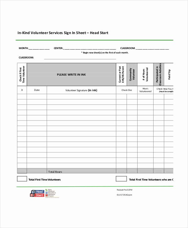 Volunteer Sign In Sheet Lovely Volunteer Sign In Sheet Templates 14 Free Pdf Documents