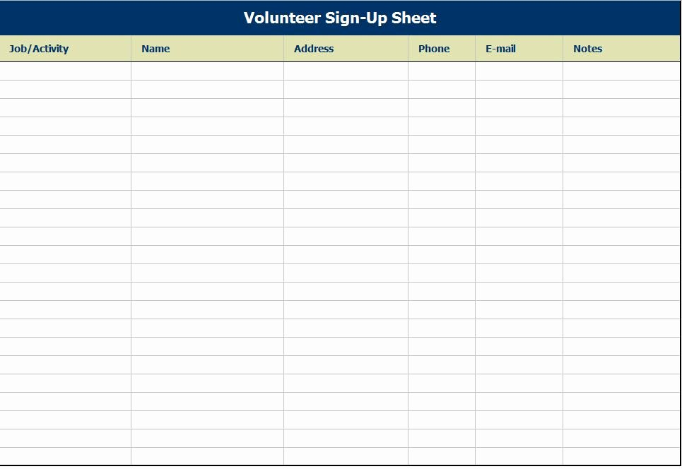 Volunteer Sign In Sheet Lovely Volunteer Sign Up Sheet