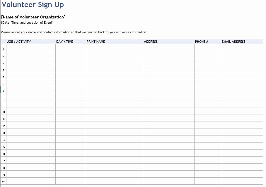 Volunteer Sign In Sheet Unique 9 Free Sample Volunteer Sign Up Sheet Templates