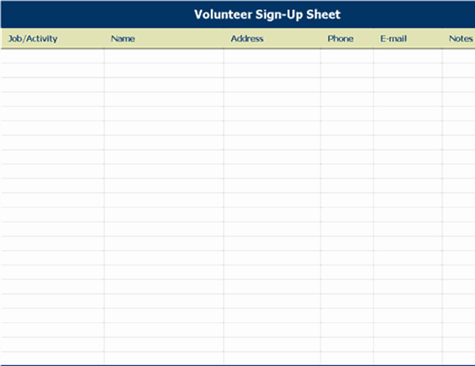 Volunteer Sign In Sheet Unique Volunteer Sign Up Sheet