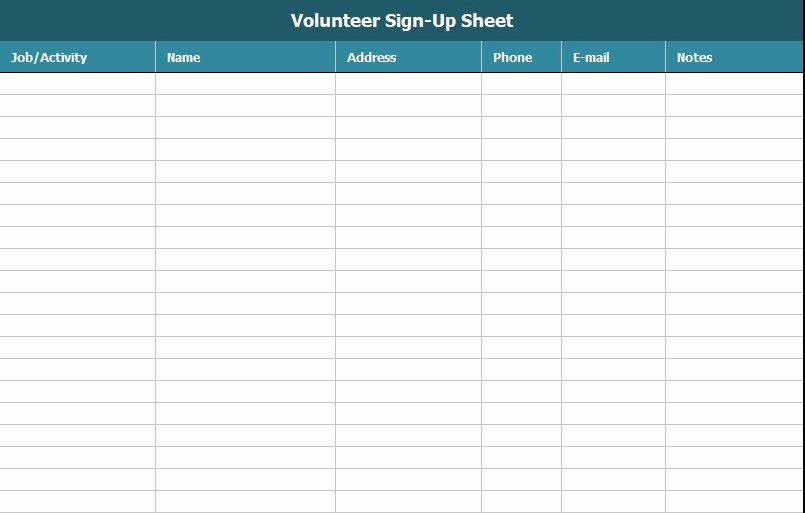 Volunteer Sign Up Sheet Awesome Free Sign Up Sheet Template Excel and Word Excel Tmp