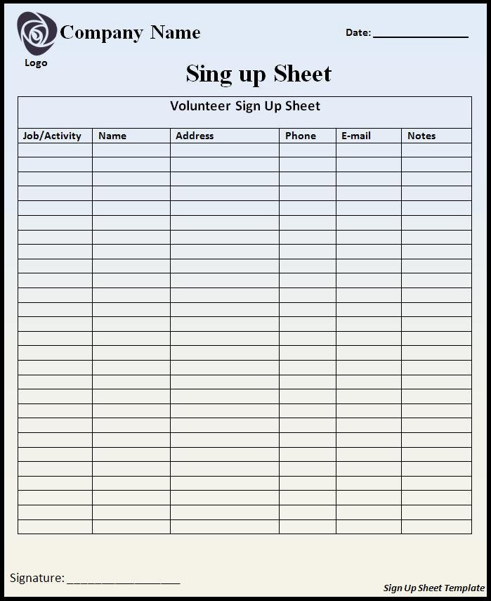 Volunteer Sign Up Sheet Awesome Volunteer Sign Up Sheet Template Free