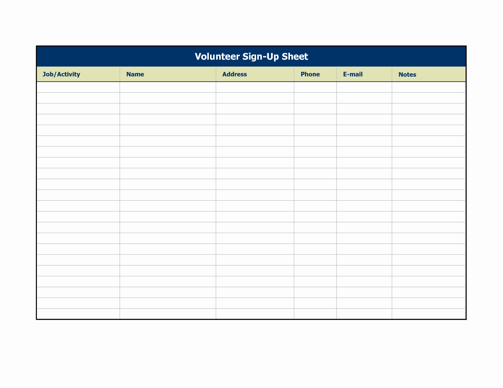 Volunteer Sign Up Sheet Best Of 25 Excellent Sign In Sheet Templates for Your