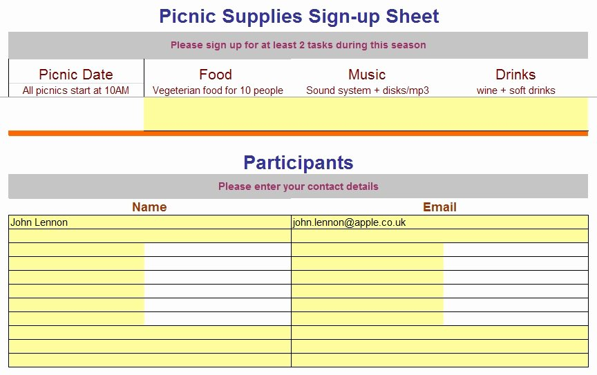Volunteer Sign Up Sheet Fresh 9 Free Sample Volunteer Sign Up Sheet Templates