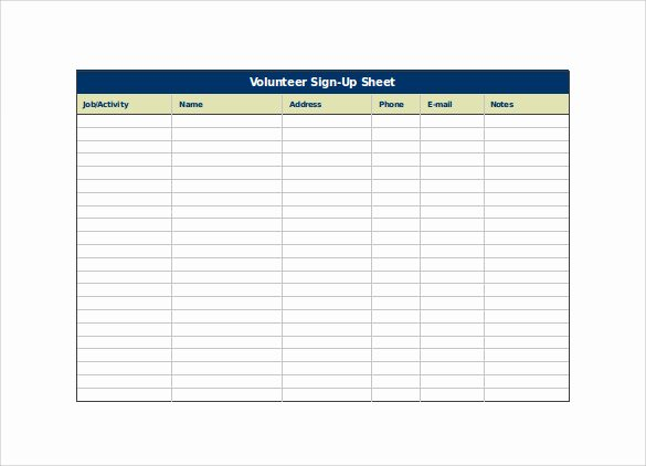 Volunteer Sign Up Sheet Inspirational Sign Up Sheet Template 13 Download Free Documents In