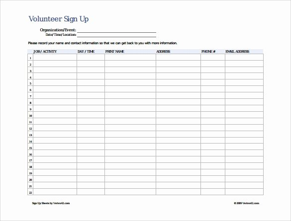 Volunteer Sign Up Sheet Lovely Vbs Volunteer Sign Up Sheet Template Free