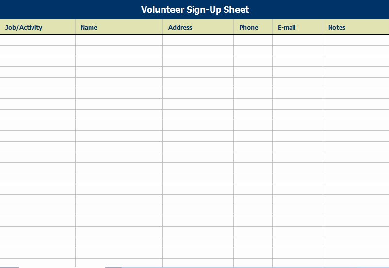 Volunteer Sign Up Sheet Lovely Volunteer attendance Sign In Sheet