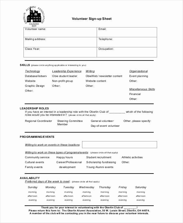 Volunteer Sign Up Sheet New 38 Sheet Samples & Templates In Pdf