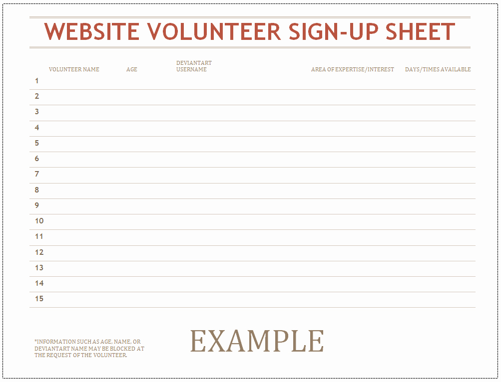 Volunteer Sign Up Sheet New Volunteer Sign Up Sheet by Caitybee On Deviantart