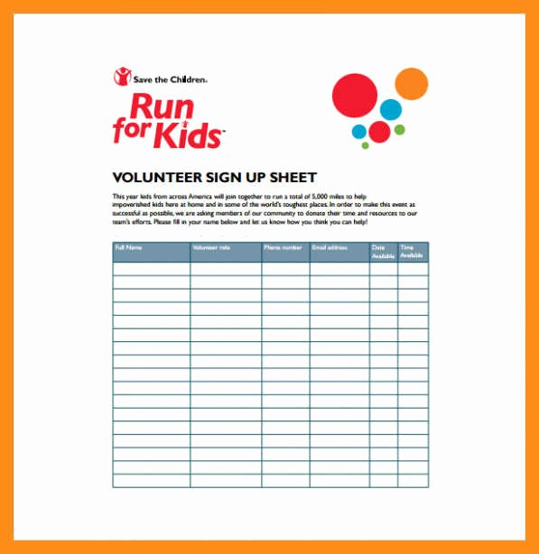 Volunteer Sign Up Sheet Unique 12 13 Volunteer Signup Sheet Template