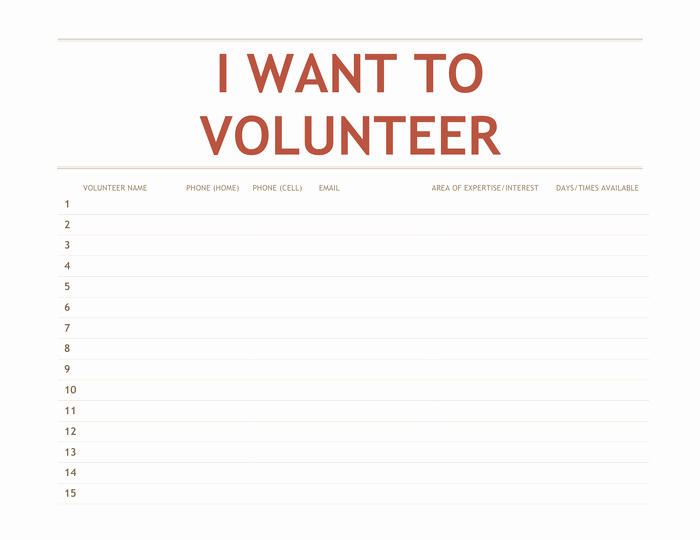 Volunteer Sign Up Sheet Unique Volunteer Sign Up Sheet Template In Word and Pdf formats