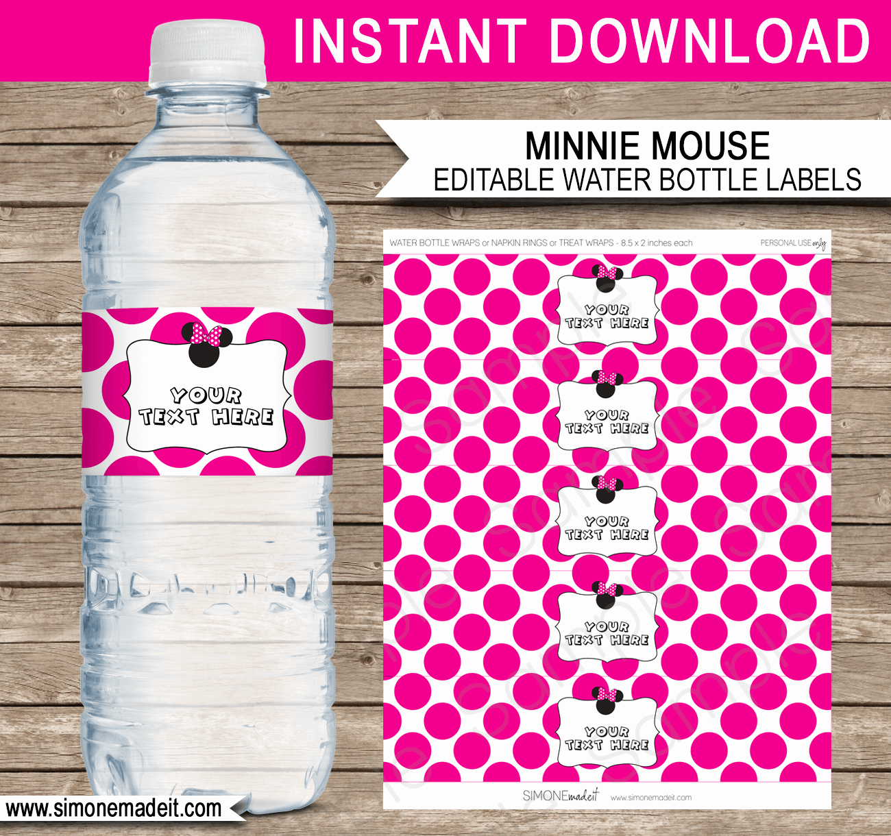 Water Bottle Labels Template Beautiful Minnie Mouse Party Water Bottle Labels