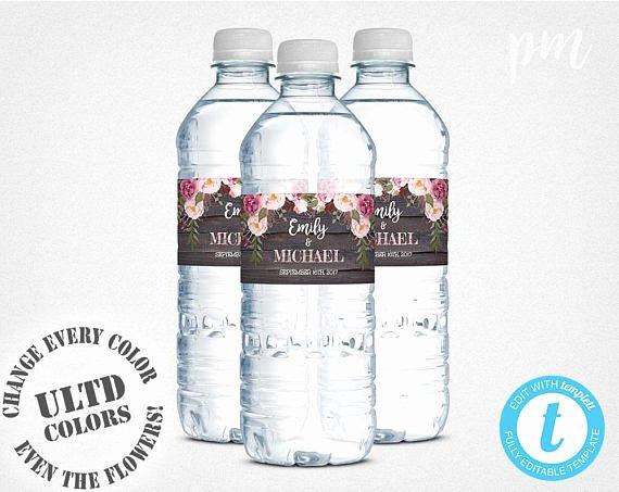 Water Bottle Labels Template Best Of Wedding Water Bottle Labels Template Printable Water Bottle