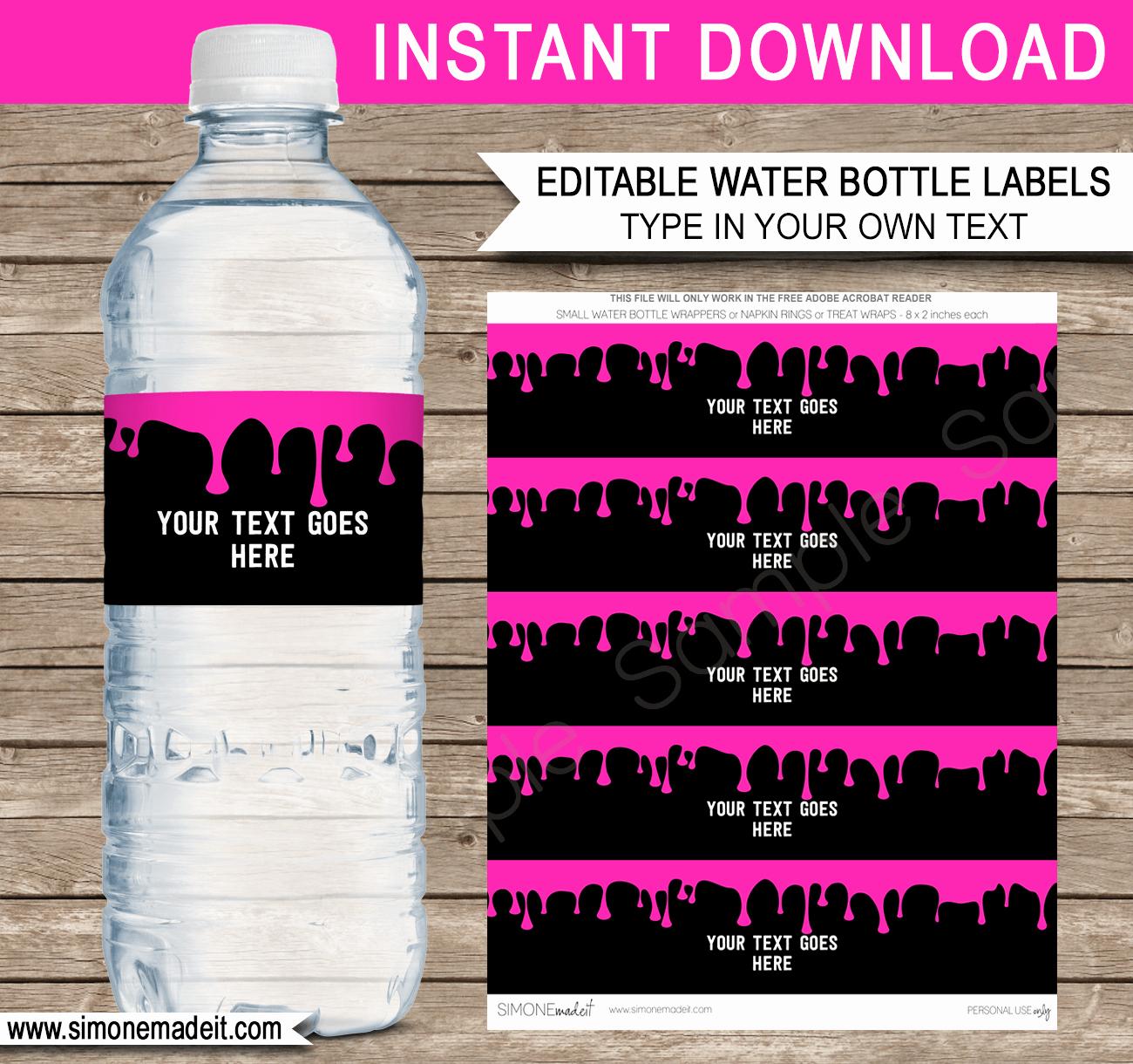 Water Bottle Labels Template Elegant Slime Water Bottle Labels