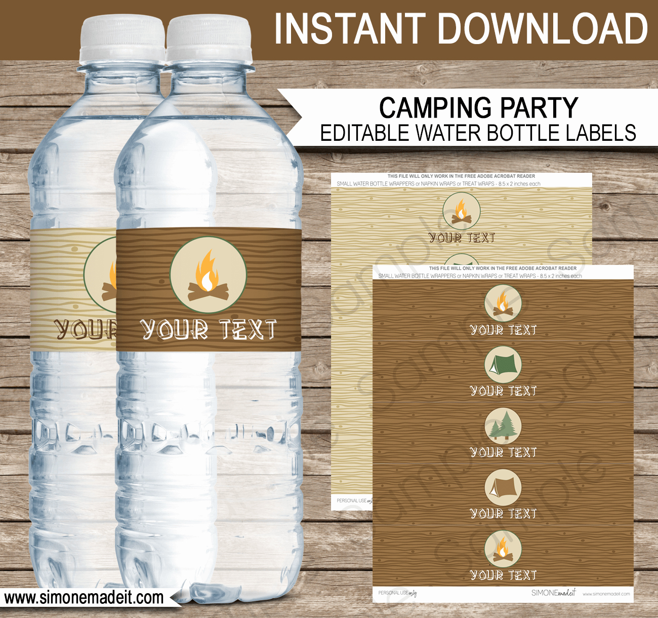Water Bottle Labels Template Inspirational Camping Party Water Bottle Labels