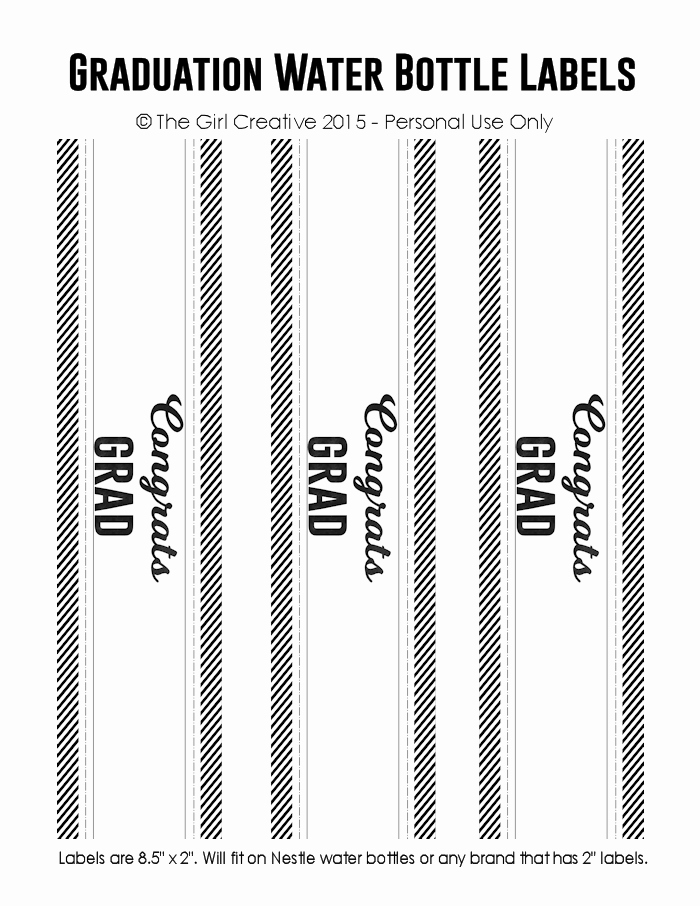 Water Bottle Labels Template Inspirational Graduation Printables the Girl Creative