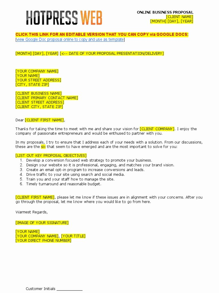 Web Design Proposal Template Best Of Web Design Proposal Template Doc