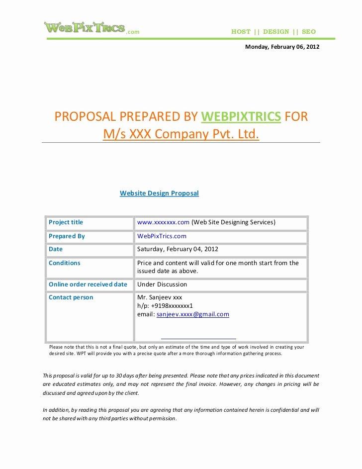 Web Design Proposal Template Fresh Web Design Proposal Sample