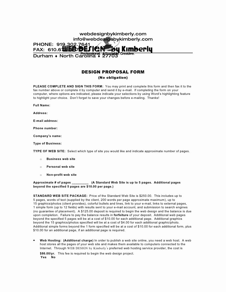 Web Design Proposal Template Inspirational Download A Web Design Proposal form