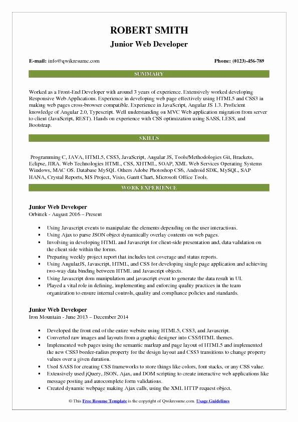 Web Developer Resume Sample Awesome Junior Web Developer Resume Samples