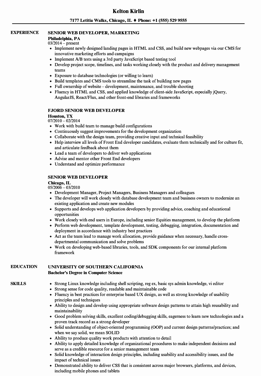 Web Developer Resume Sample Awesome Senior Web Developer Resume Samples